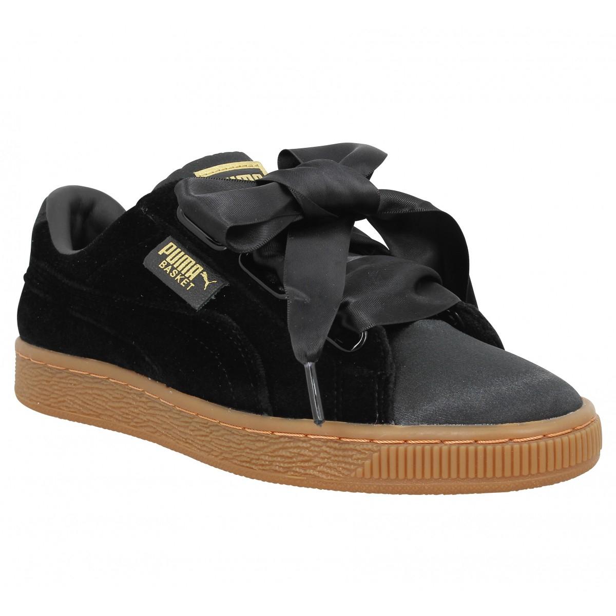 Baskets Puma Suede Heart à 19,99€ - Noir ou Kaki - Tailles du 36 au 41