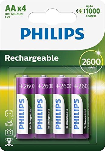 Lot de 4 piles Philips  rechargeables MultiLife batterie NiMH AA Mignon - 2600 mAh