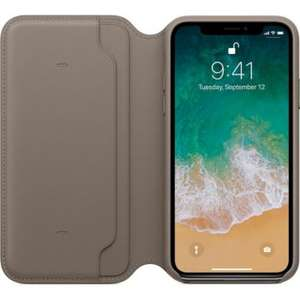 Etui Apple Cuir taupe pour  iPhone X