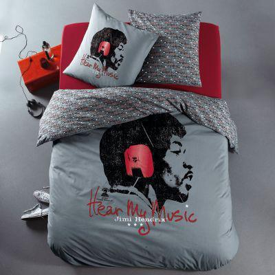 Housse de couette 2 personnes + Taie d'oreiller  en pur coton Jimi Hendrix