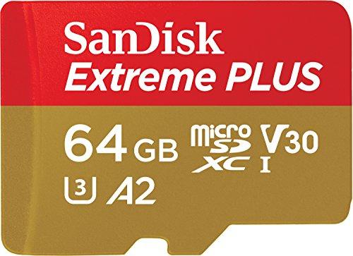 Carte microSDXC SanDisk Extreme A2 U3 - 64 Go + Adaptateur SD