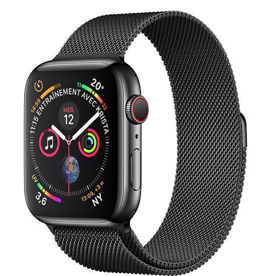 Montre connectée Apple Watch Series 4 GPS + Cellular, 40mm Boîtier en acier inoxydable avec Bracelet Milanais noir sidéral