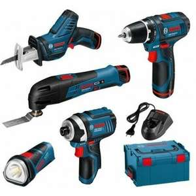 Kit d'outils Bosch pro 12V : Perceuse visseuse + Visseuse à chocs + Découpeur ponceur + Scie sabre + Lampe, chargeur + 3 batteries 2Ah