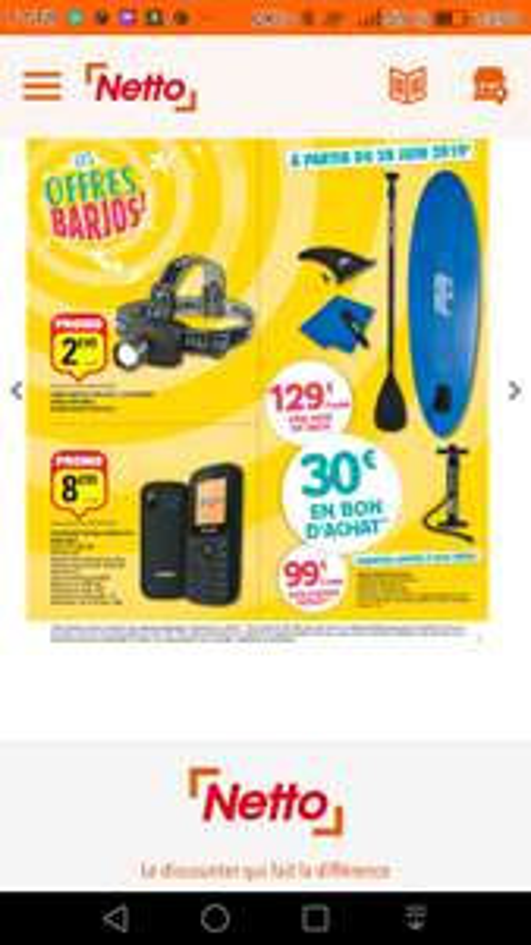 Paddle gonflable AquaMarina - avec accessoires (via 30€ en bon d'achat)