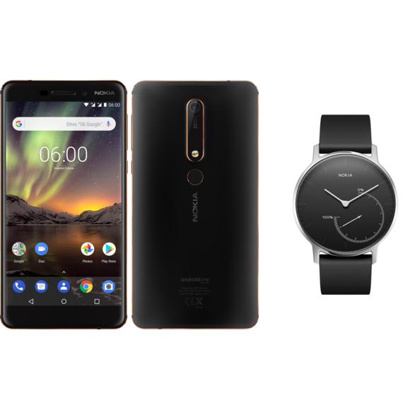 """Smartphone 5.5"""" Nokia 6.1 - 32Go, Noir + Montre connectée Steel Noir - Acier argenté/ Bracelet noir"""