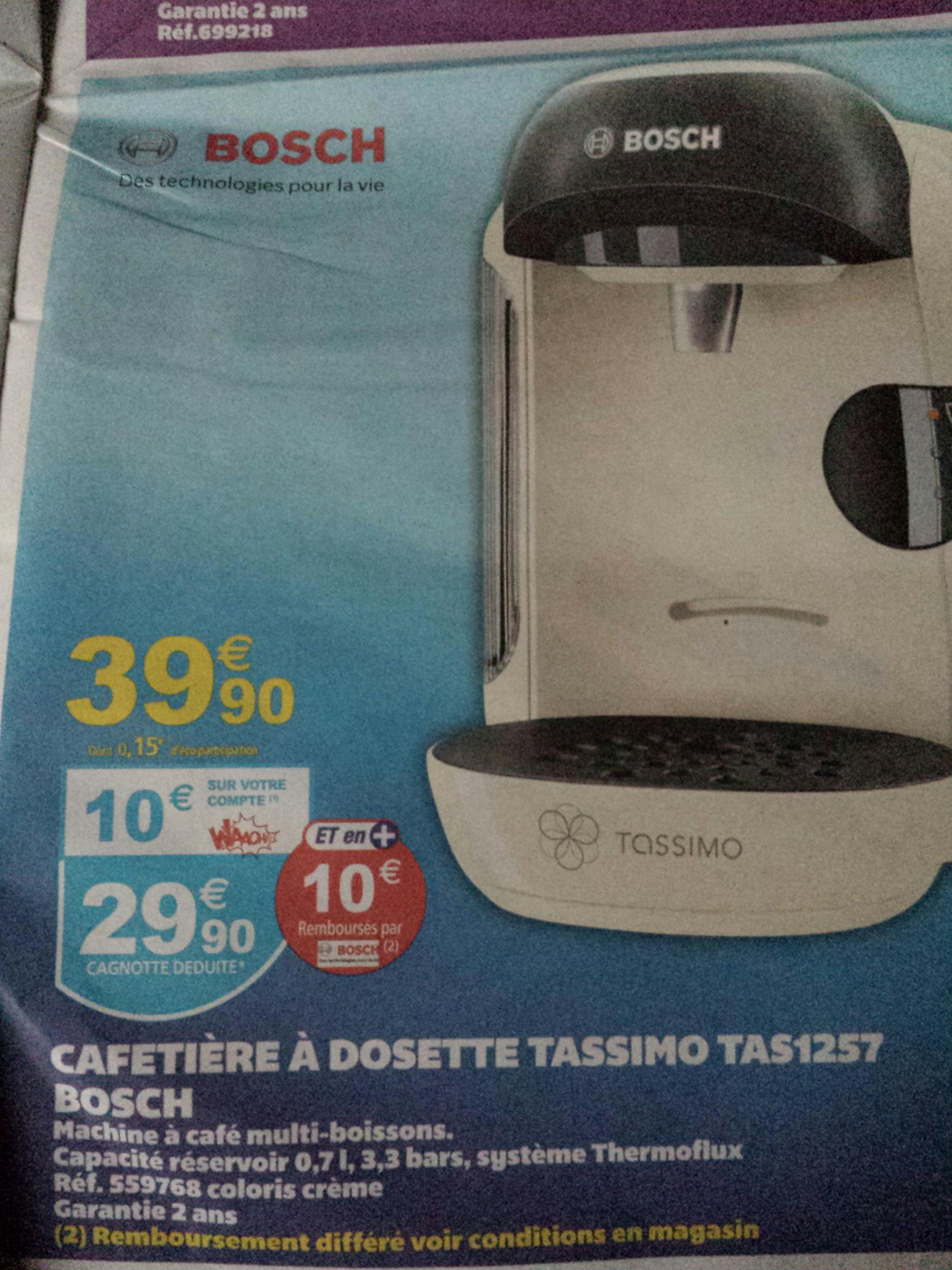 Cafetière à dosette tassimo Bosch Vivy TAS1257 (10€ sur la carte + ODR de 10€)