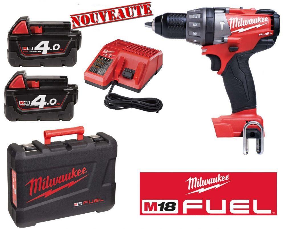 Perceuse brushless Milwaukee Fuel M18 CDD-402C 18V - 2 batteries 4.0ah li-Ion, chargeur, coffret  (+52.25€ en SP)