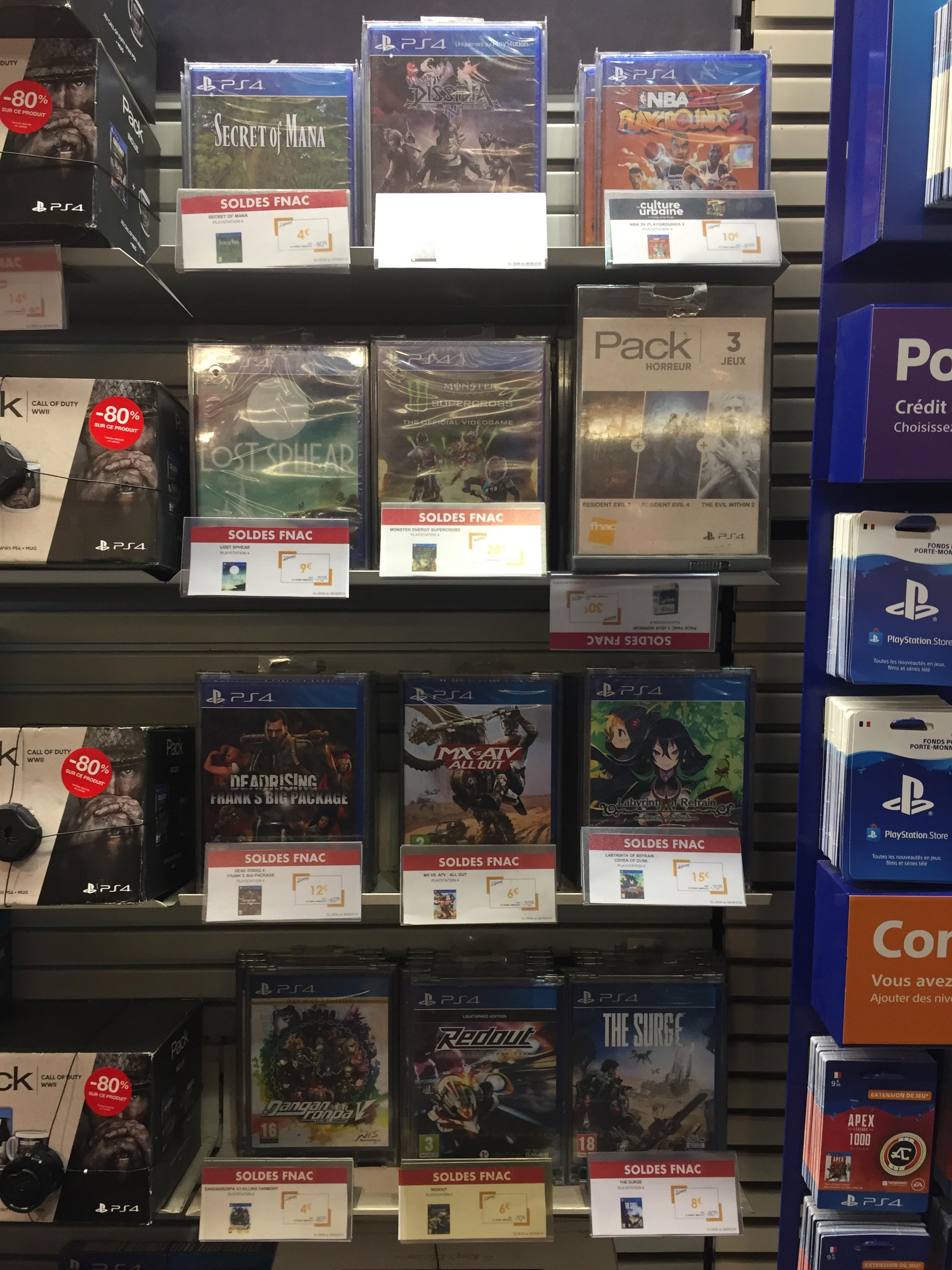 Sélection de jeux vidéo en promotion - Ex : Lost Sphear sur PS4 à 9€ (Fnac Saint-Lazare 75)