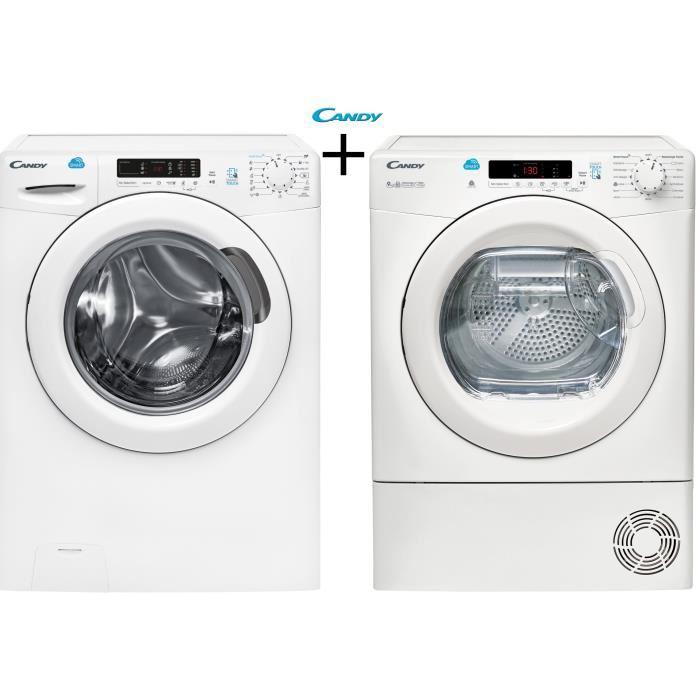Pack lavage Candy : Lave-linge CS 1292D3-S (9 kg; 1200 trs/min, A+++) + Sèche-linge CSC 9DE-47 (9 kg, Condensation, Classe B)