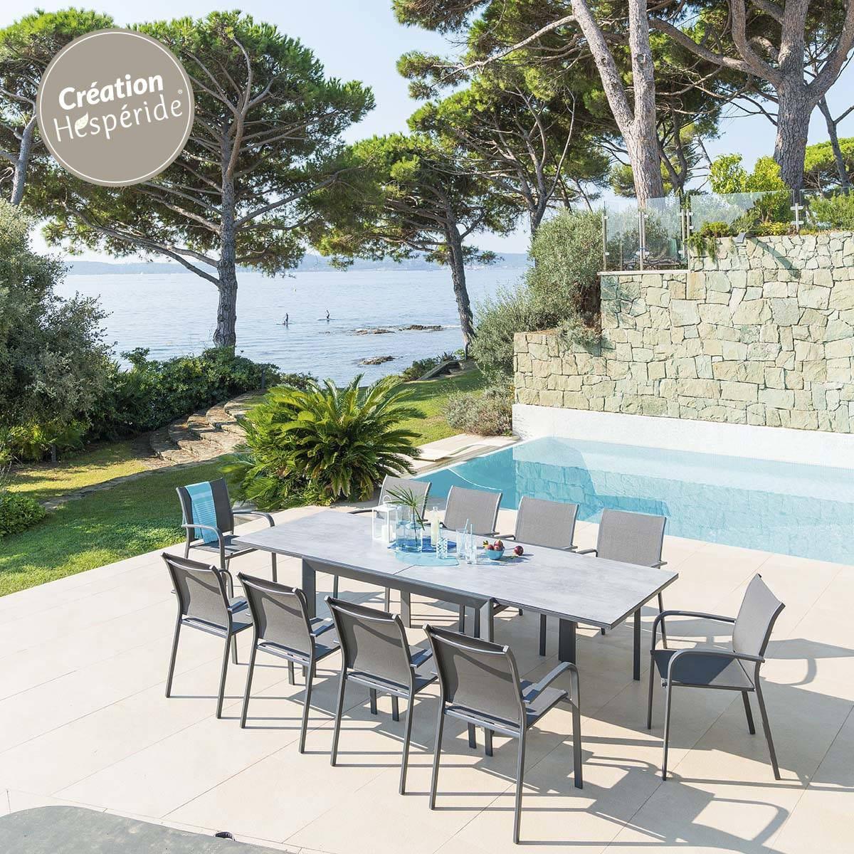 Table de jardin extensible Évasion - Marron & Tonka ou Gris Storm ...