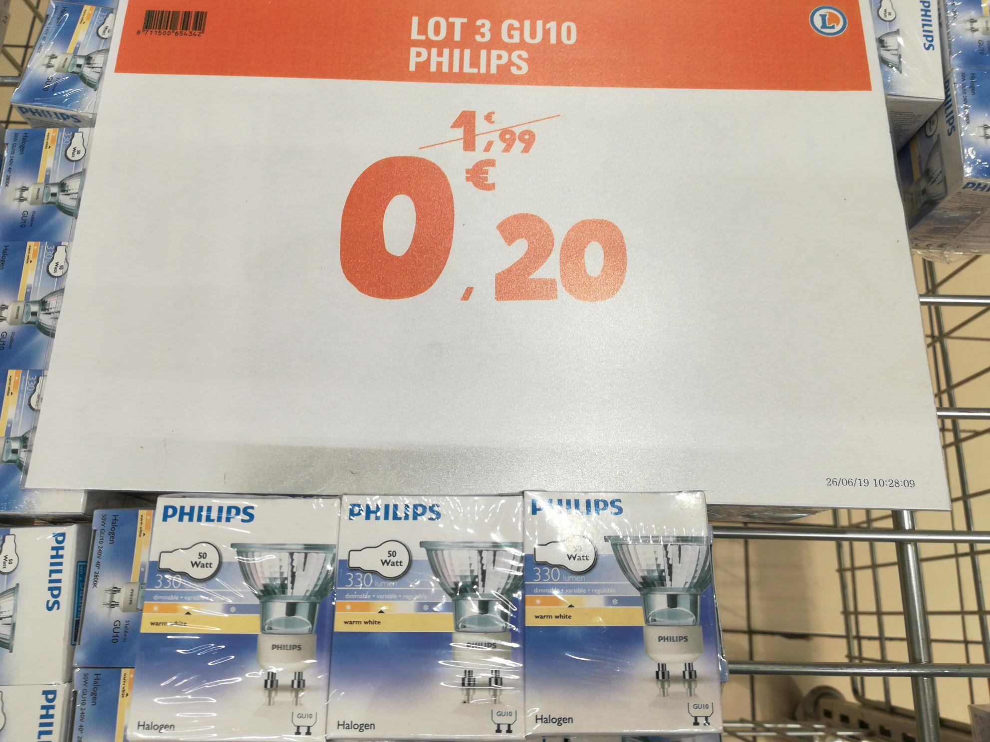 Lot de 3 Ampoules Halogènes GU10 Philips 50w - Blagnac (31)