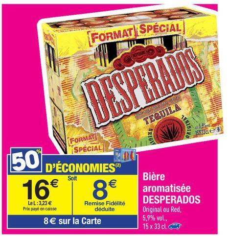 Pack de bière Desperados 15x 33cl (avec 8€ sur la carte de fidélité)