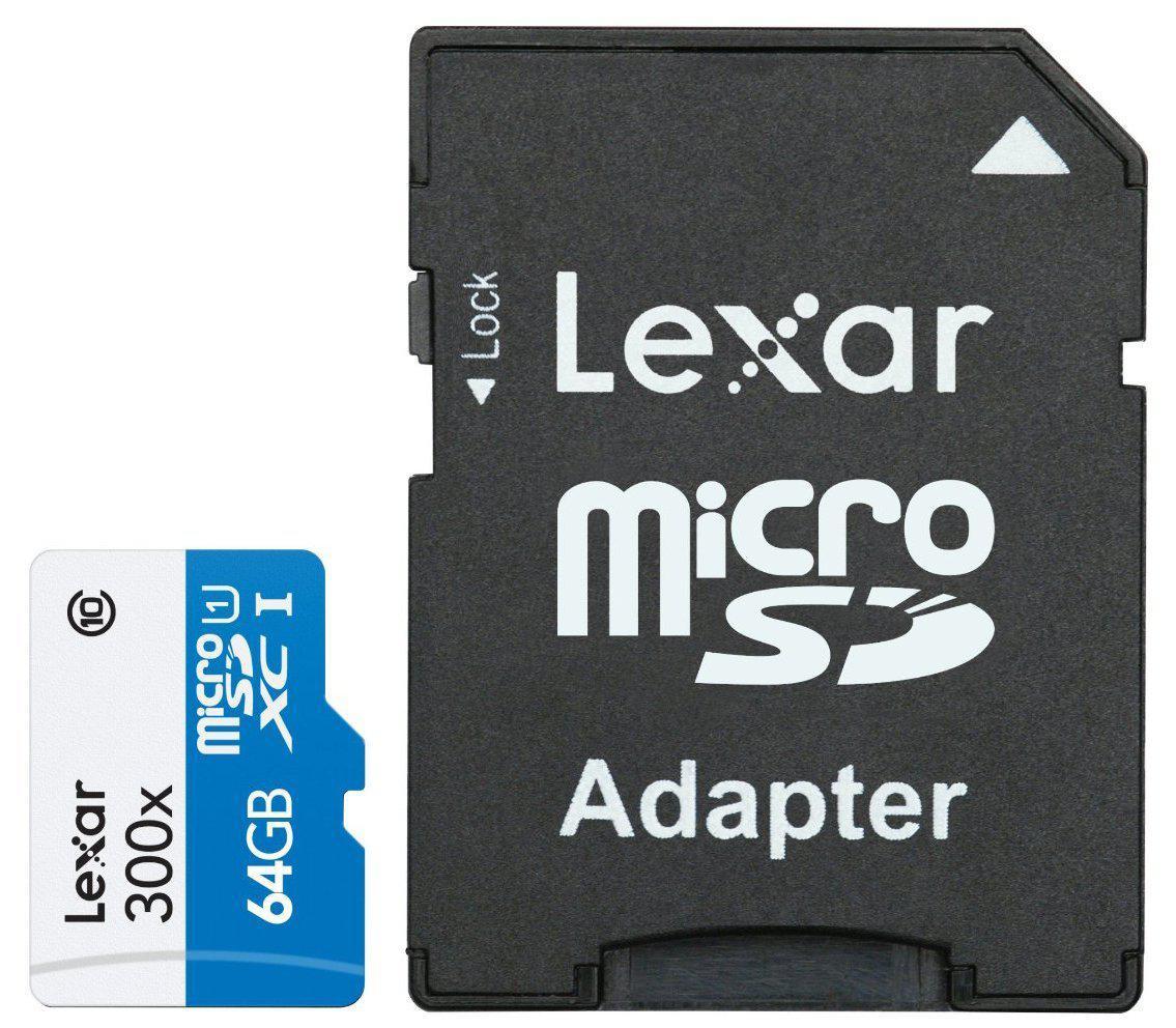 Carte mémoire MicroSDXC Lexar 300x 64 Go Classe 10 UHS-I avec Adaptateur SD