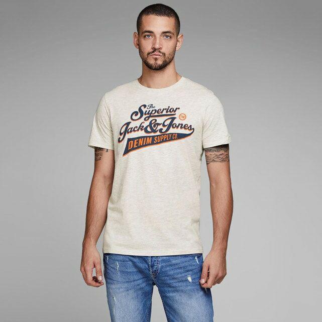 Tee-shirt Jack & Jones - blanc avec motif (du XS au M)