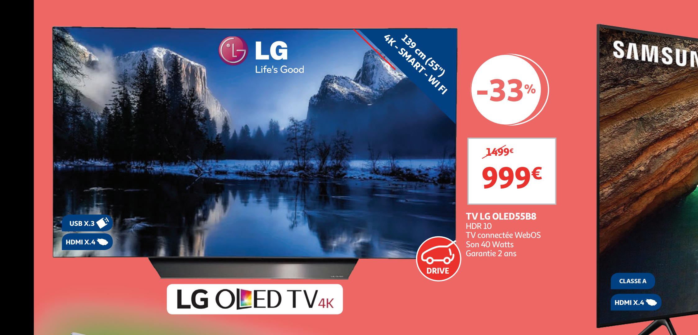 "TV 55"" LG OLED55B8PLA (4K UHD, OLED, Smart TV) - Kirchberg (frontaliers Luxembourg)"