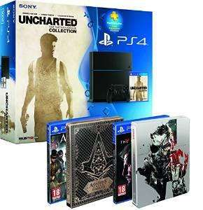 Pack Console Sony PS4 500 Go + PS Plus 3 mois + Uncharted : Collection + Assassin's Creed : Syndicate + Metal Gear Solid V : The Phantom Pain + 2 Steelbooks