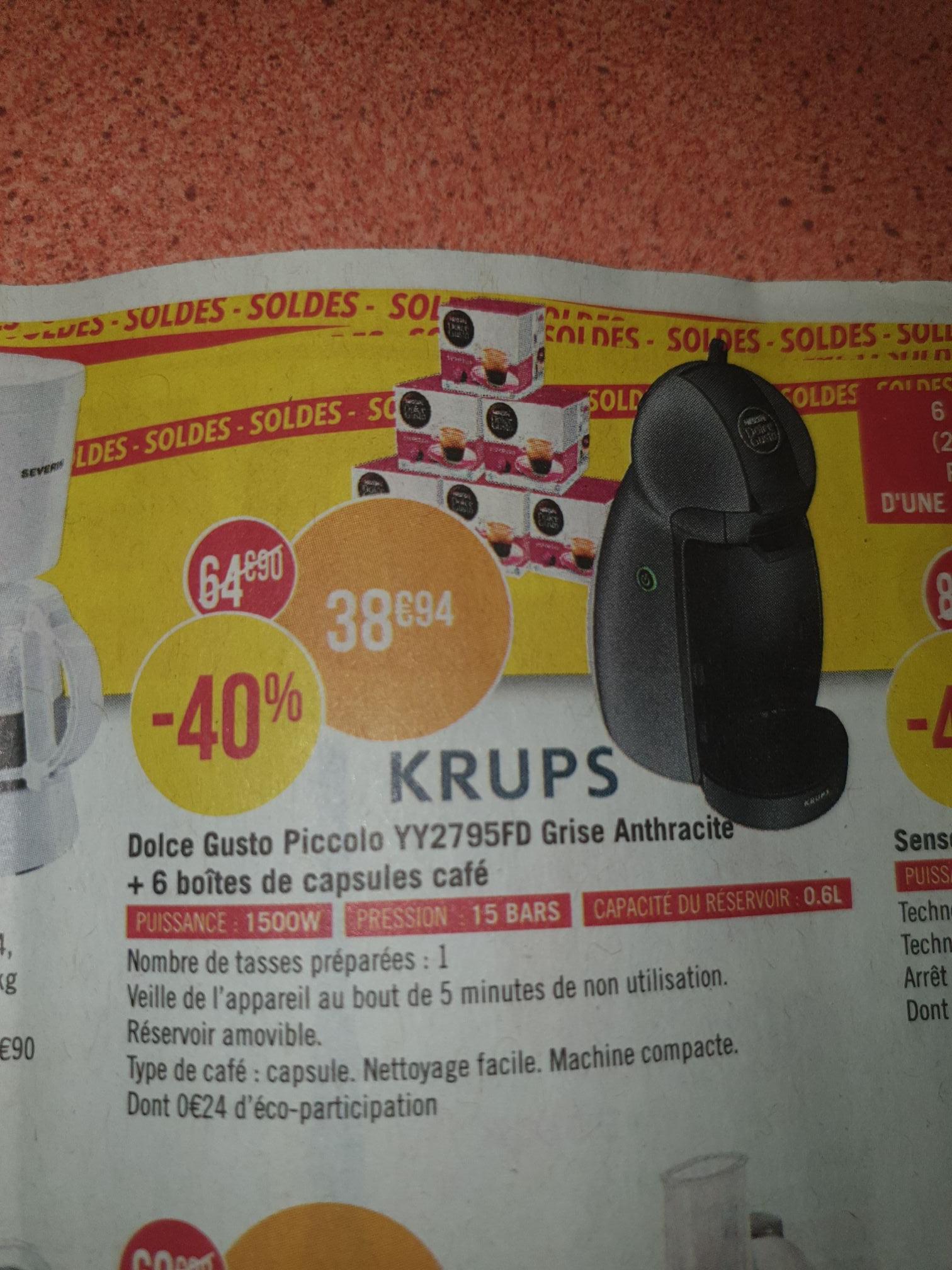 Machine à Café Krups Nescafé Dolce Gusto Piccolo YY2283FD  + 6 Boites de Capsules