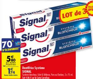 Lot de 3 dentifrices Signal (via 70% sur la carte)