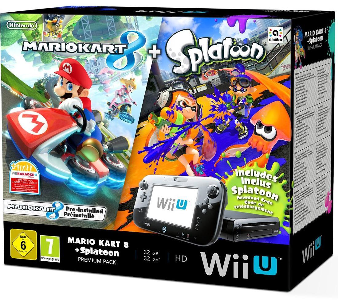 Pack Premium Wii U 32Go + Mario Kart 8 (Préinstallé) + Splatoon (Dématérialisé)
