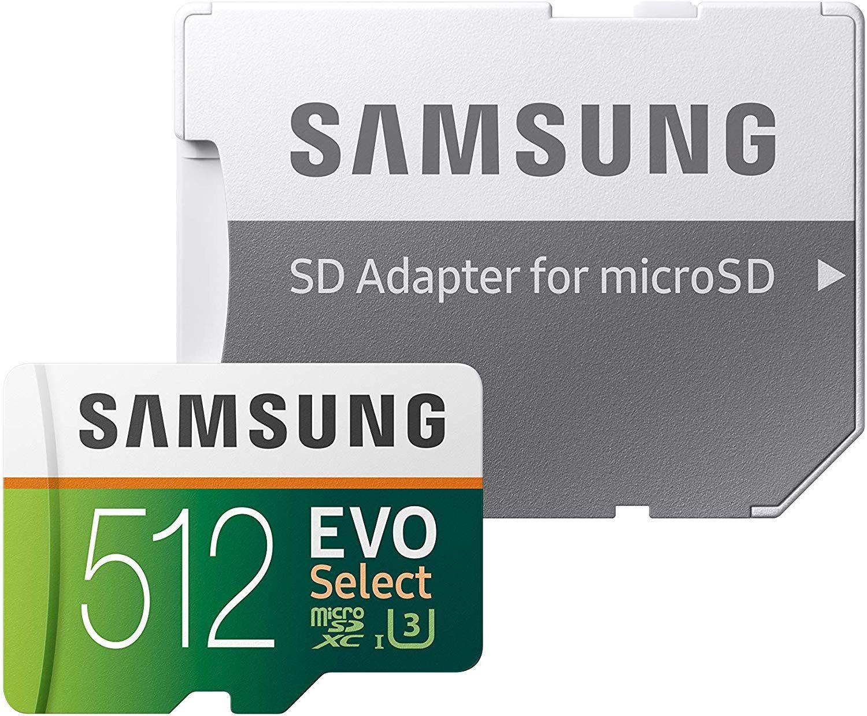 Carte mémoire microSDXC Samsung Evo Select + adaptateur SD - 512 Go