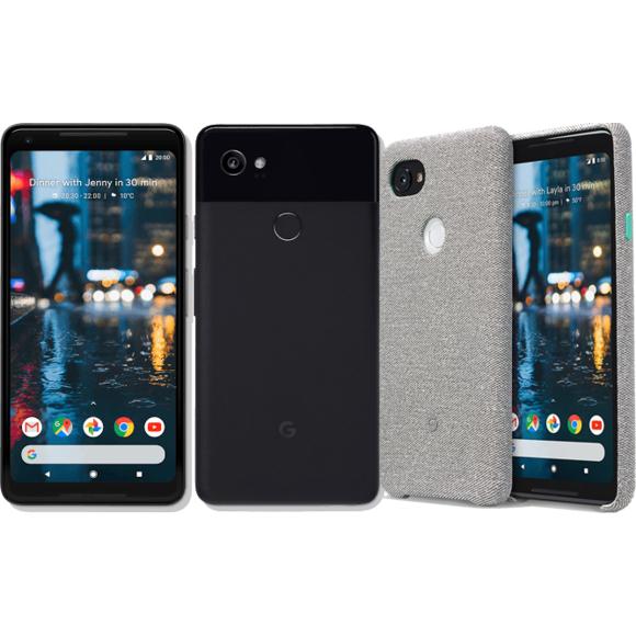 "Smartphone 6"" Google Pixel 2 XL - QHD+, Snapdragon 835, RAM 4 Go, ROM 64 Go (Noir) + Coque tissu"