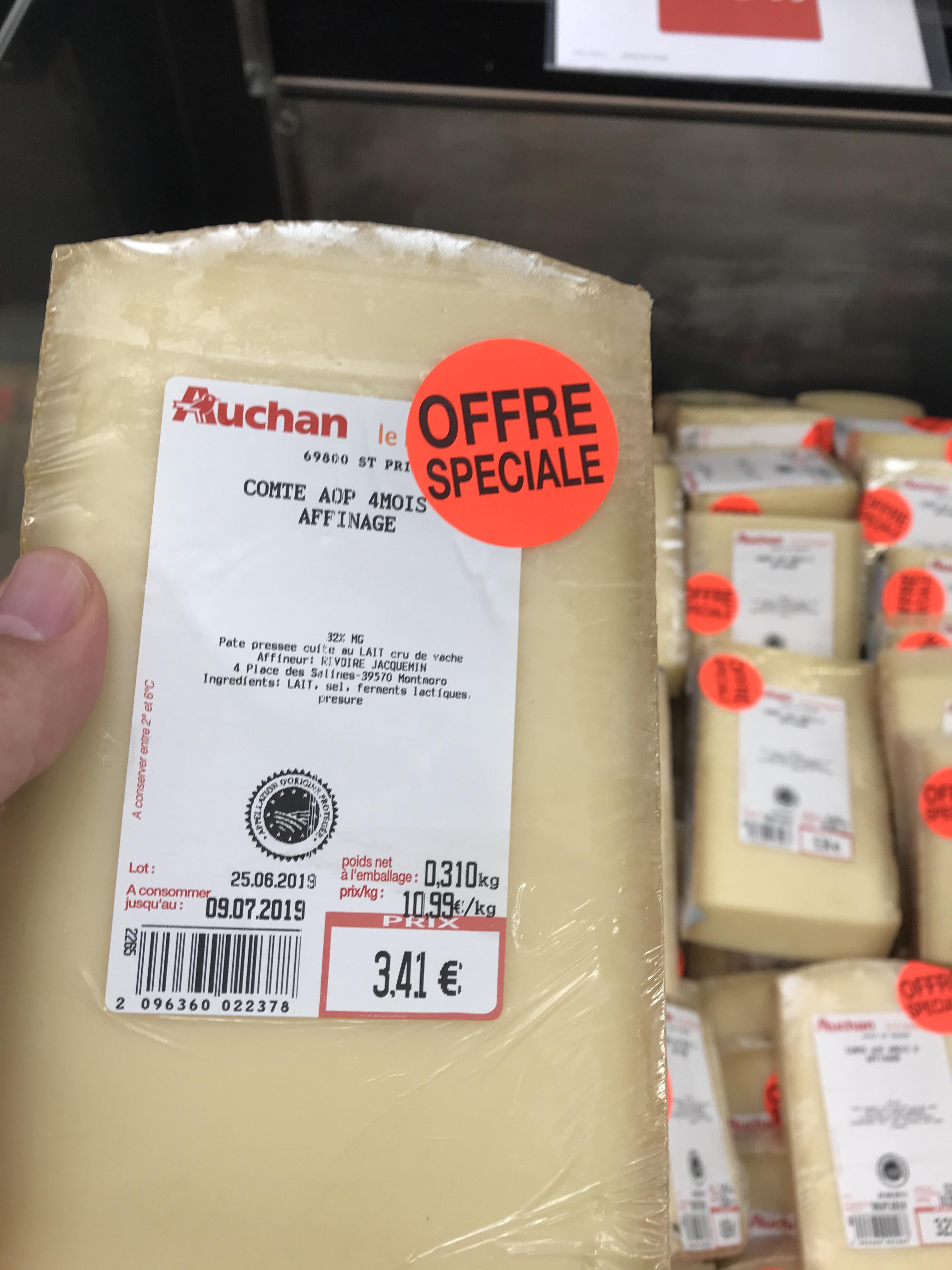 Fromage Comte AOP Affinage 4 mois, 310G - Porte des alpes (69)