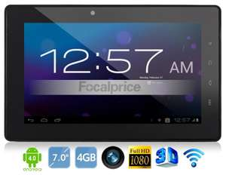 """OEM A7 7 """"Android 4.0.3 TCC8923 1.0GHz 4 Go Tablette PC avec connexion Wi-Fi, HDMI  (Noir)"""