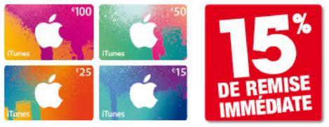 15% de réduction sur les cartes iTunes
