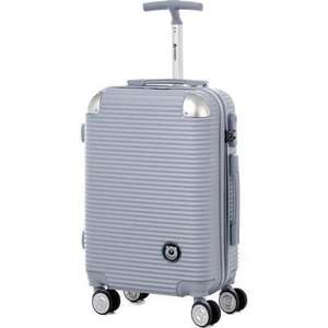 Valise Cabine Teddy Bear Trolley Rigide ABS - 8 Roues, 50 cm, Argent