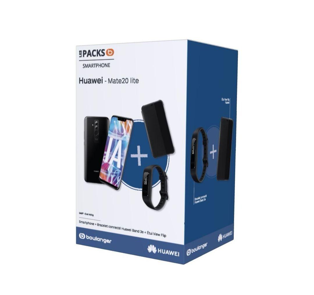 "Pack smartphone 6.3"" Huawei Mate 20 Lite (full HD+, Kirin 710, 4 Go de RAM, 64 Go) + Bracelet connecté Huawei Band 3e + Etui View Flip"