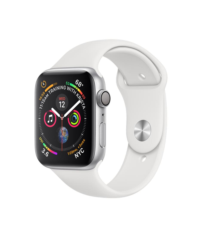 Montre connectée Apple Watch Series 4 - GPS, 44 mm, aluminium argent bracelet sport, blanc (vendeur tiers)
