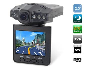 """MAJ - Dashcam Screen Car Recorder avec écran 2,5"""" rotatif + 6 LED"""