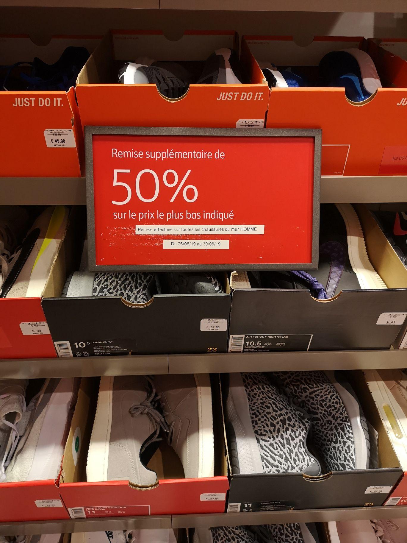 -50% sur toutes les chaussures présentes sur le Mur (Ex: Nike Air VaporMax à 60€) - Nike Factory Claye-Souilly