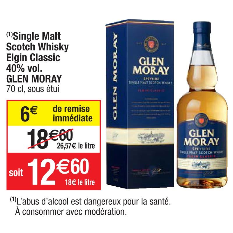 Bouteille de whisky Glen Moray Single Malt Elgin Classic - 70 cl