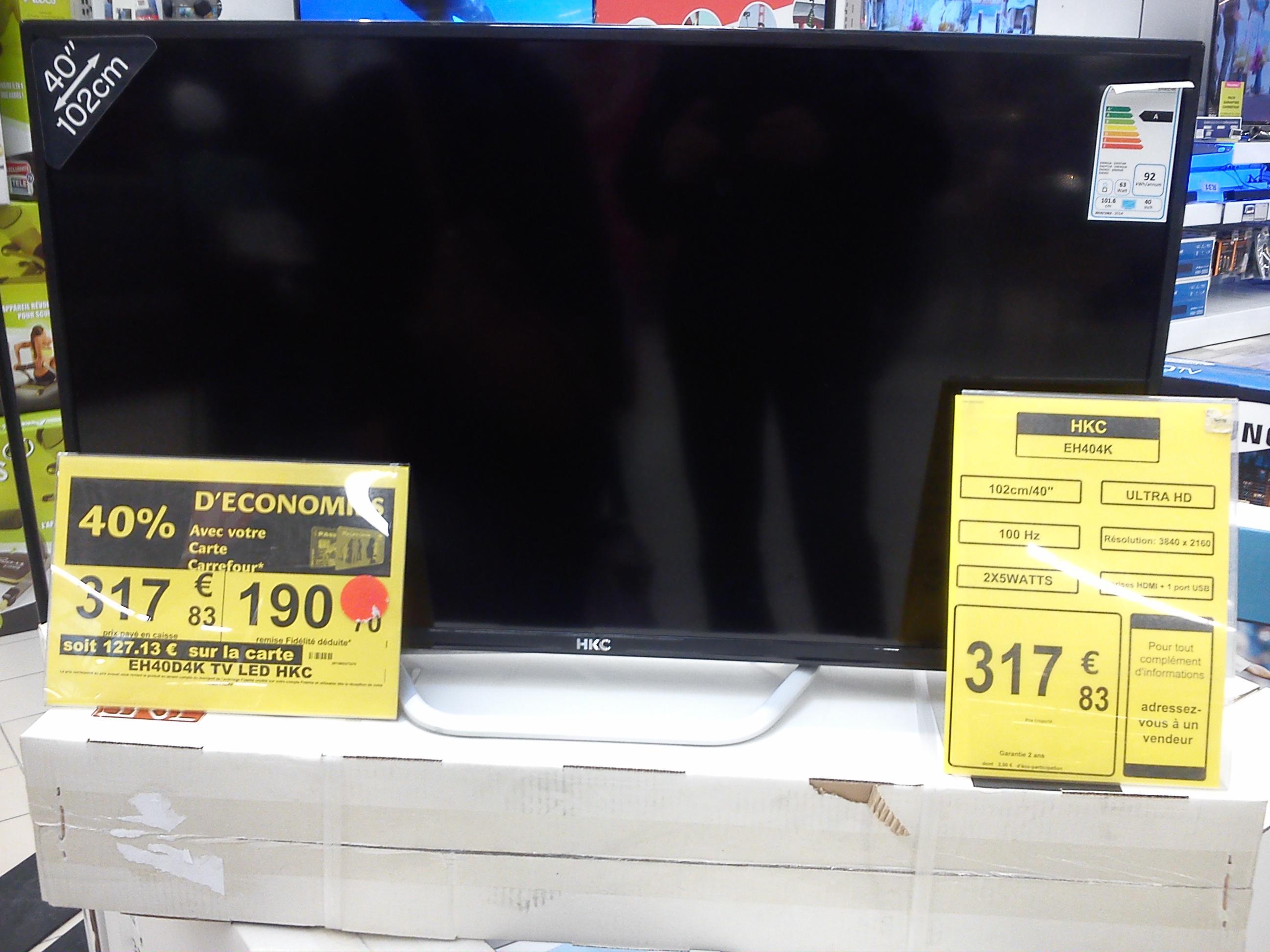 """TV 40"""" HKC EH40D4K - 4K, LED (via 127.13€ sur la carte fidélité)"""