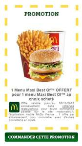 1 menu Maxi Best Of acheté = 1 menu Maxi Best Of offert pour les commandes