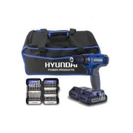 Pack Perceuse HYUNDAI 18V + 2 Batteries + Coffret 37 Embouts + Sac HPVD185-37A (+2.75€ en SuperPoints)