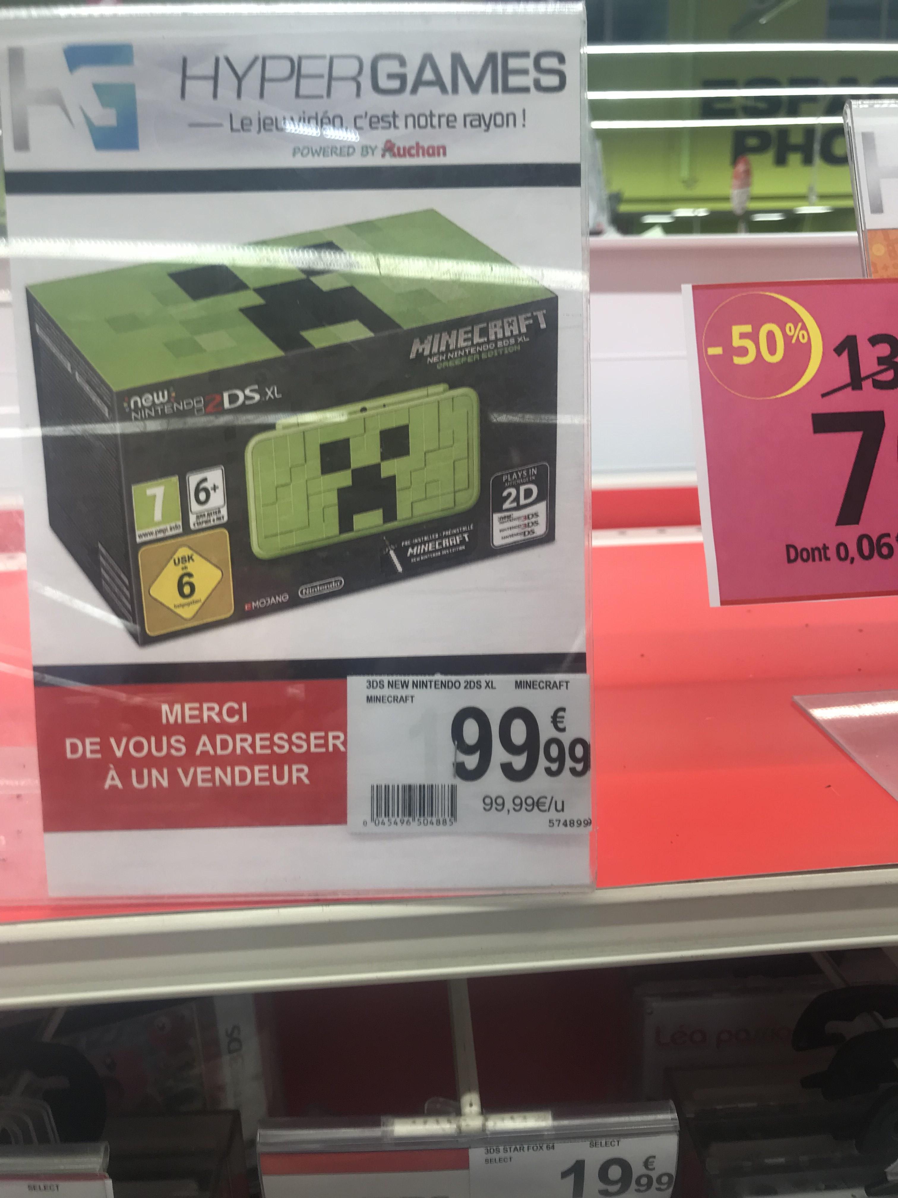 Sélection de console Nintendo en promotion - Ex : New Nintendo 2DS XL Minecraft Creeper Edition (Villars 42)