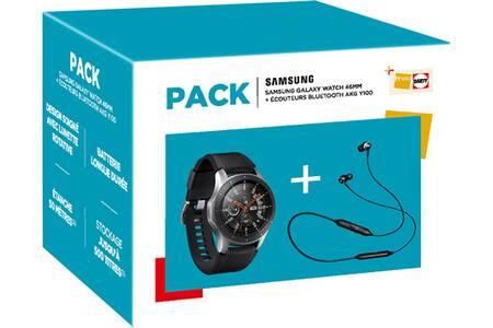 Montre connectée Bluetooth Samsung Galaxy Watch 46 mm Gris Acier + Ecouteurs AKG Y100