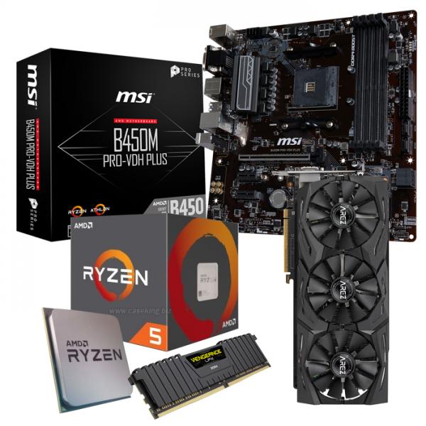 Carte mère MSI B450M Pro-VDH PLUS, Processeur Ryzen 5 2600, 16 Go de RAM DDR4, carte graphique AMD RX Vega 56