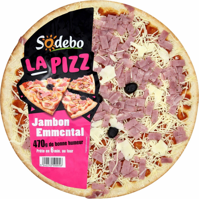 2 pizzas Sodebo Jambon emmental ou chèvre lardons -  470gr (avec 70% sur la carte)