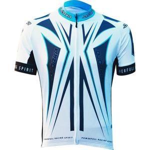 Maillot cycliste Bjorka Hexa - Blanc et bleu, taille du M au XL