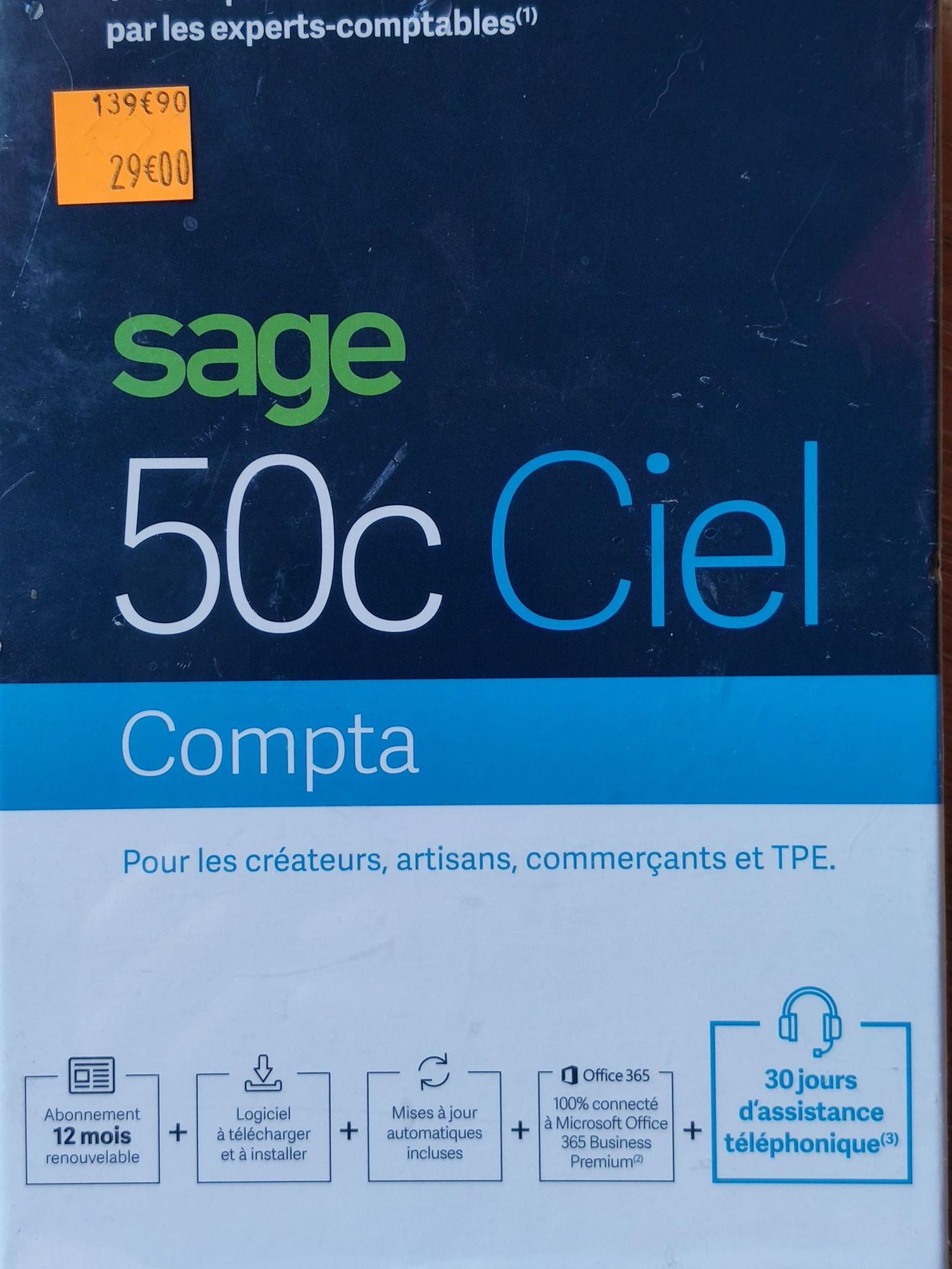 Sélection de logiciels Sage en promotion 12 mois inclus - Ex : 50c Ciel Compta (Saint-Quentin 78)