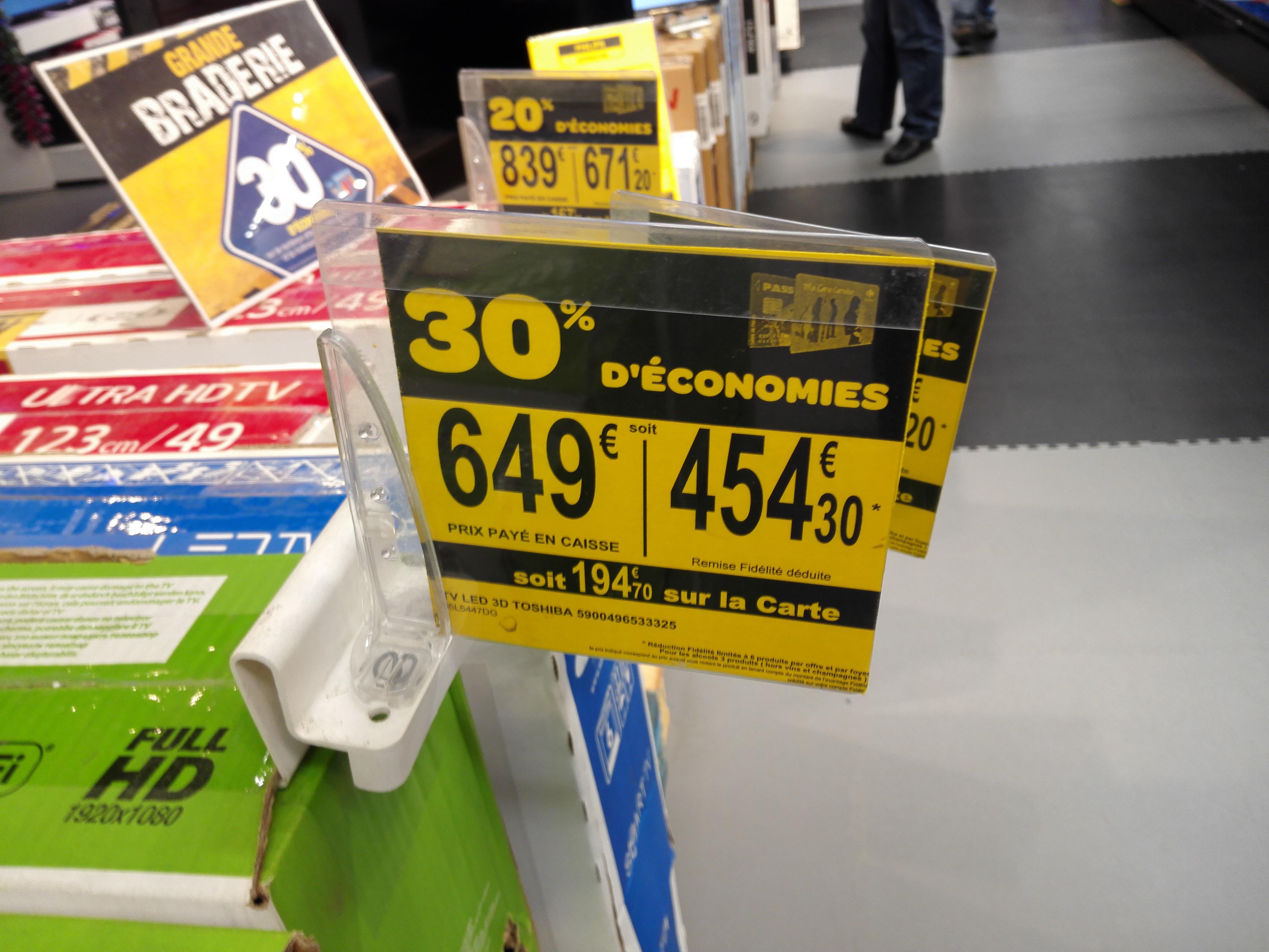 """30% crédités sur la carte sur une sélection d'articles - Ex : TV 55"""" Toshiba  55L5447DG Smart TV - 3D (194,70€ sur la carte)"""