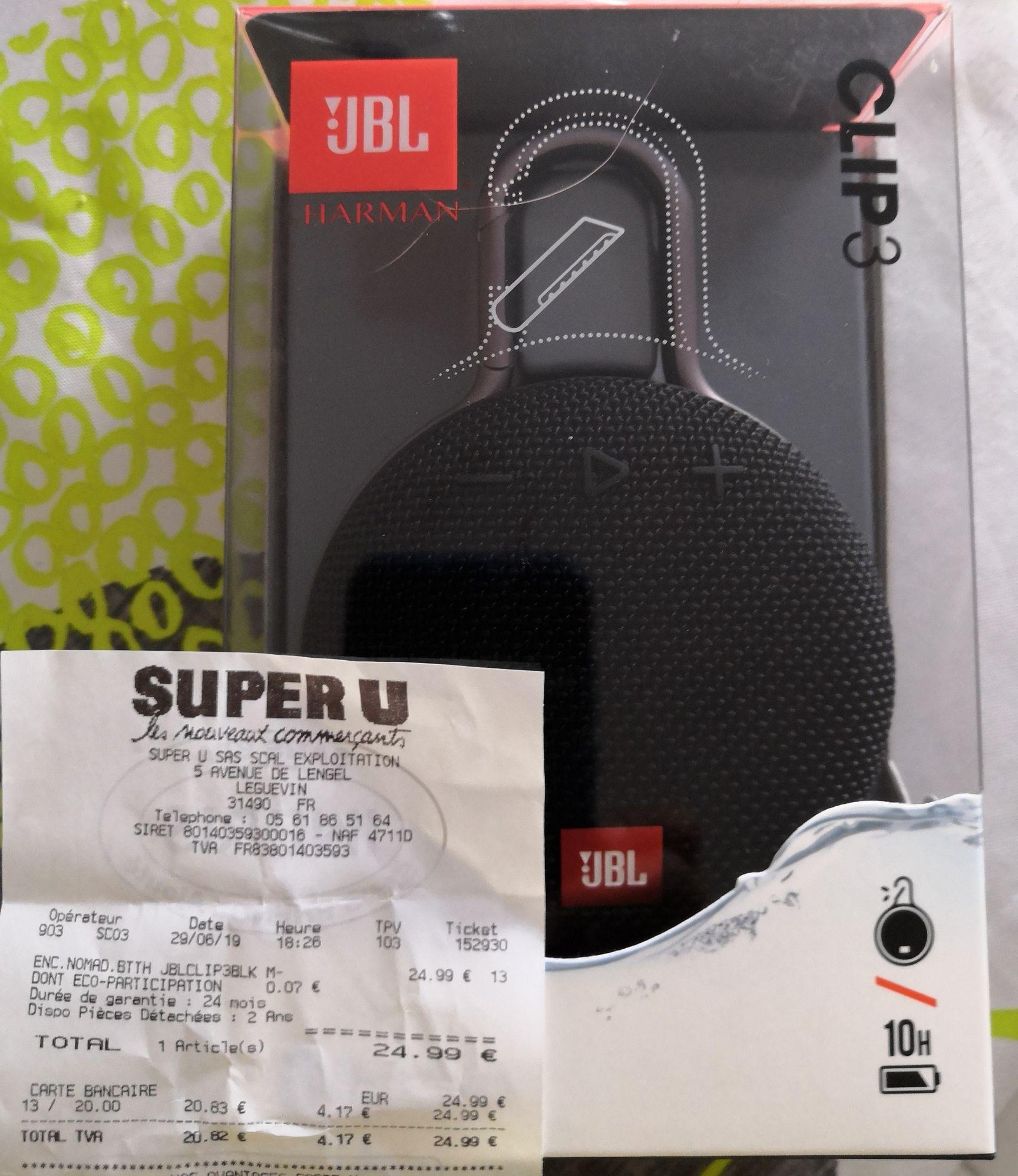 Enceinte portable JBL Clip 3 - Super U Léguevin (31)