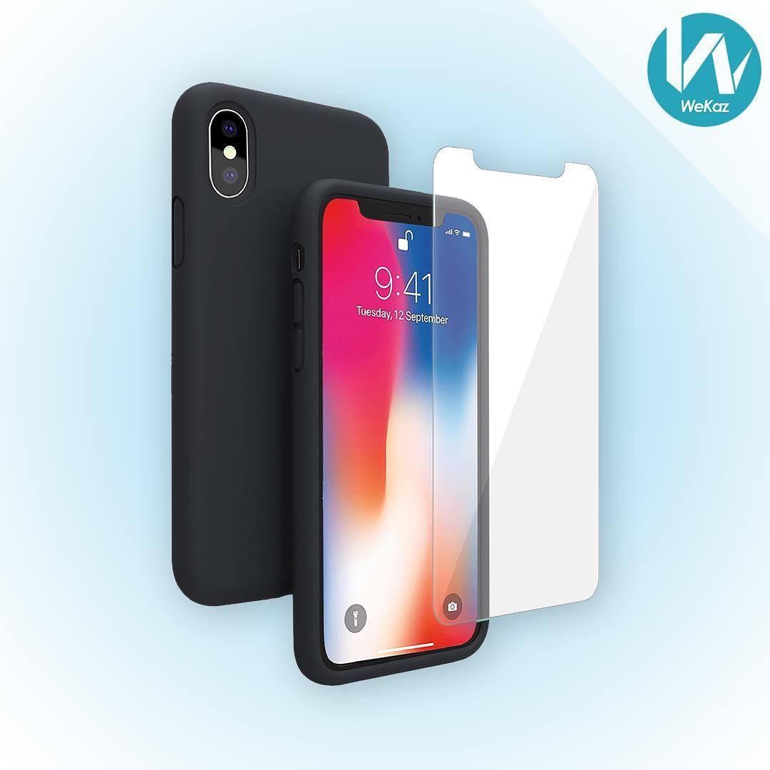 Coque en silicone Wekaz pour iPhone X/XS + Vitre en verre trempé (Vendeur tiers - Expédiée par Amazon)