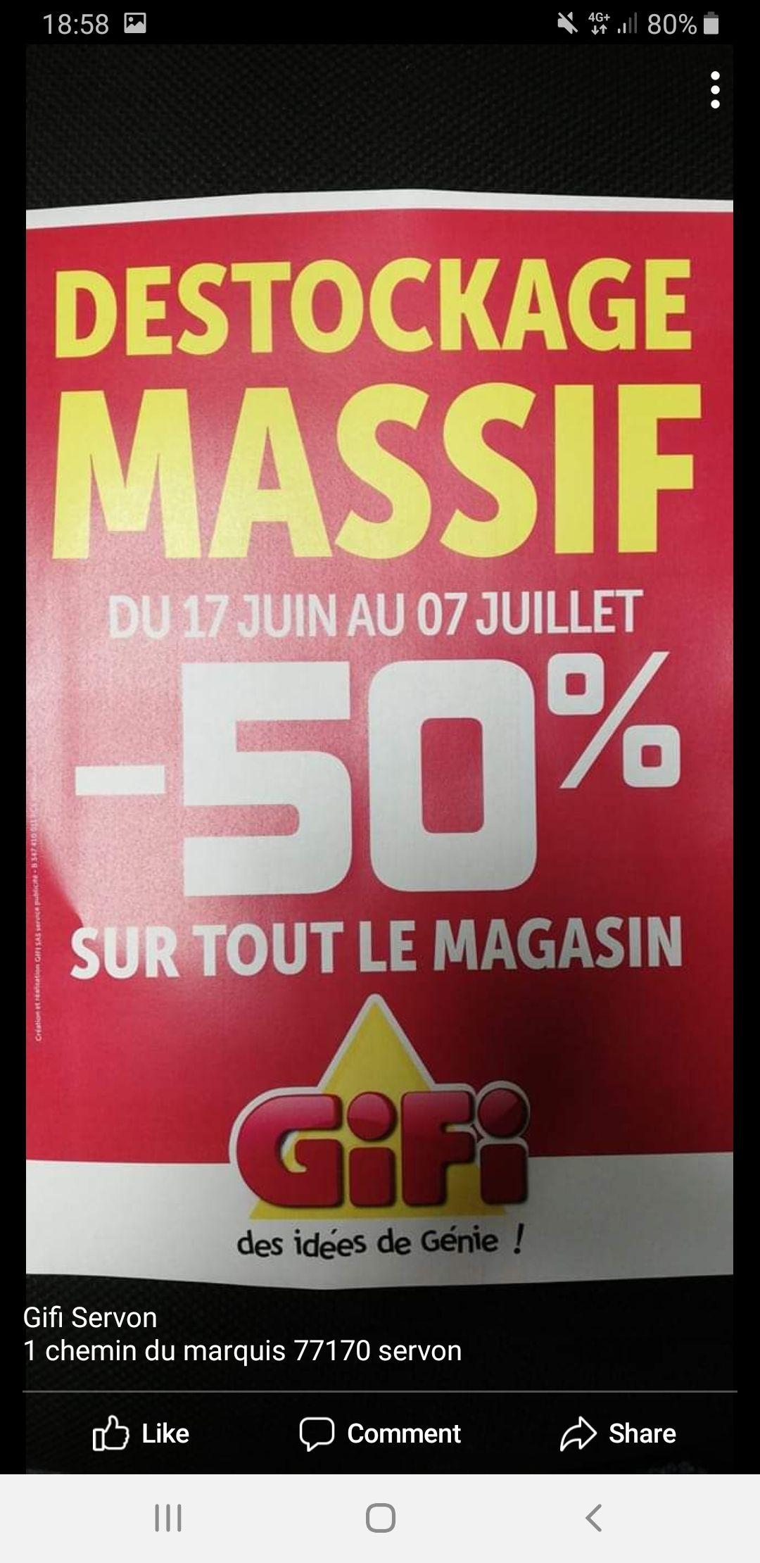 50% de réduction sur tout le magasin - Servon (77)