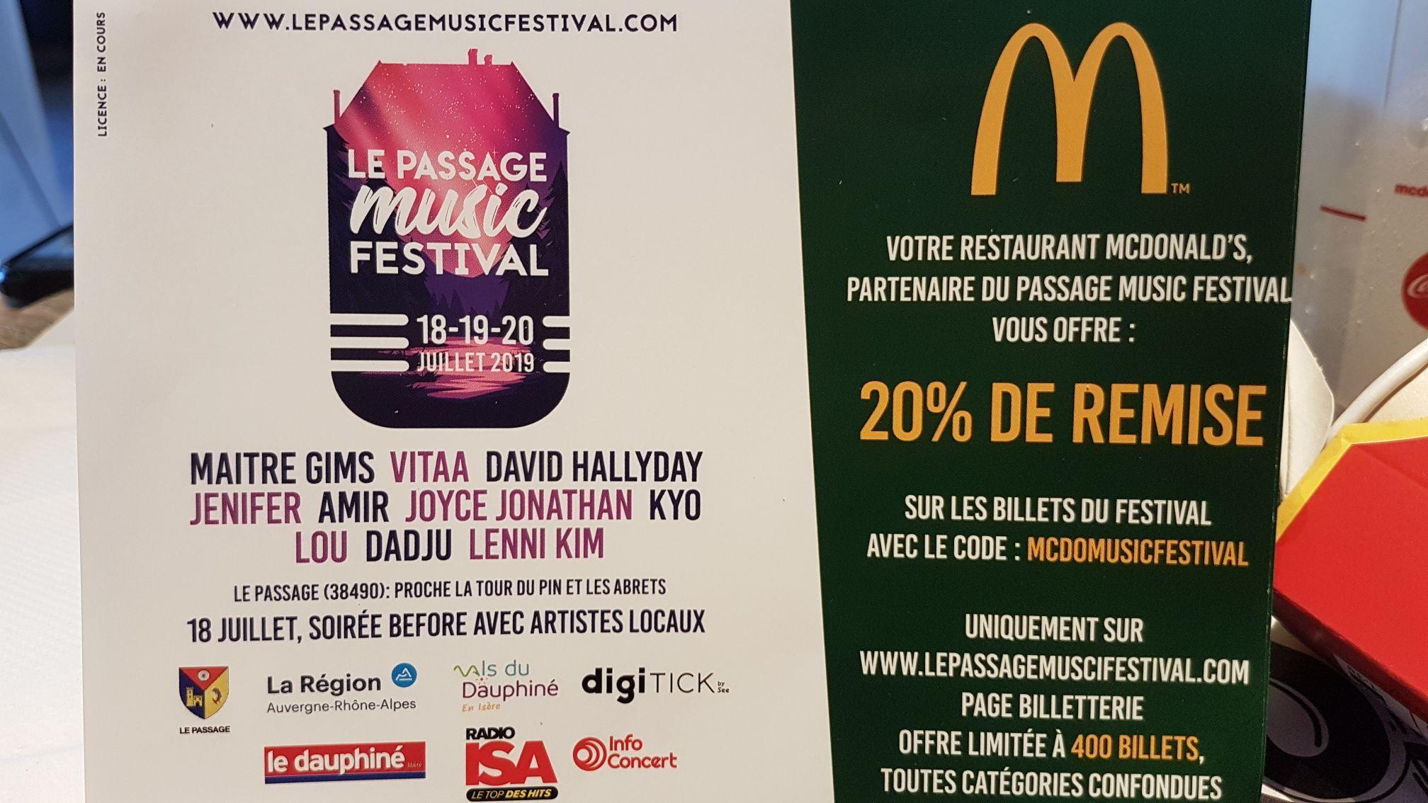 20% de réduction sur les billets pour le Passage Music Festival