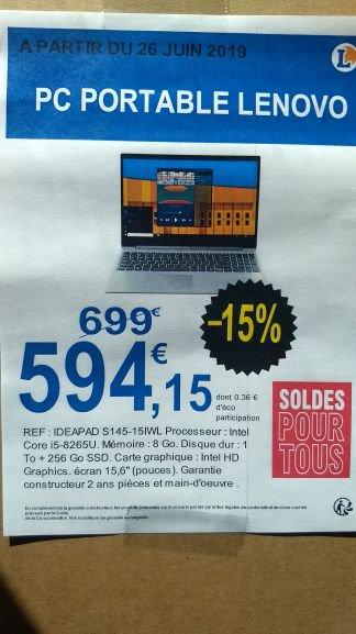 "PC portable 15.6"" full HD Lenovo IdeaPad S145-15IWL - i5-8265U, 8 Go de RAM, 1 To + 256 Go en SSD"