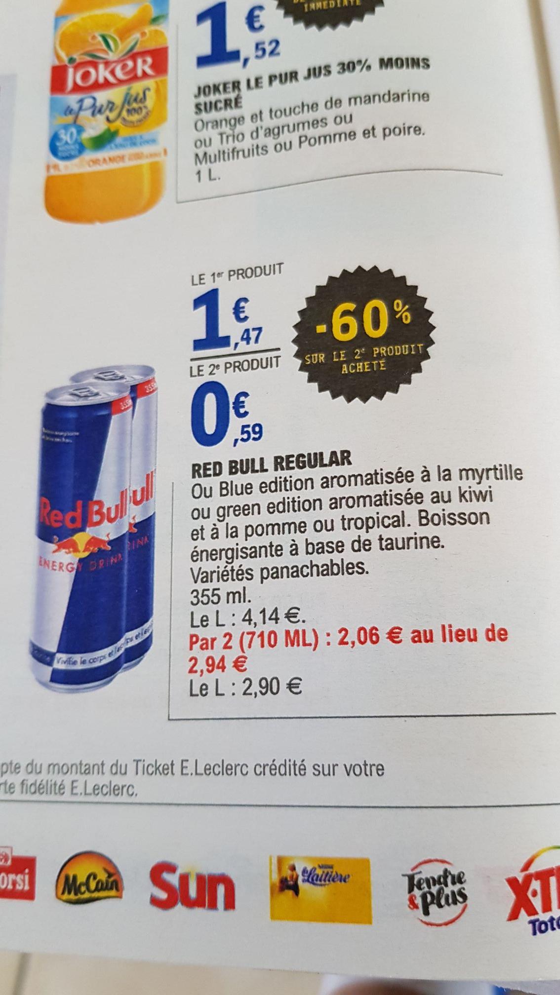 Lot de 2 canettes de Red Bull - Variétés au choix